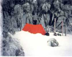Snow camping on the high plain